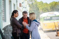 yaz, graham, and jodie outside of bus