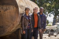 Yaz, Graham, and Ryan in front of oil tanker